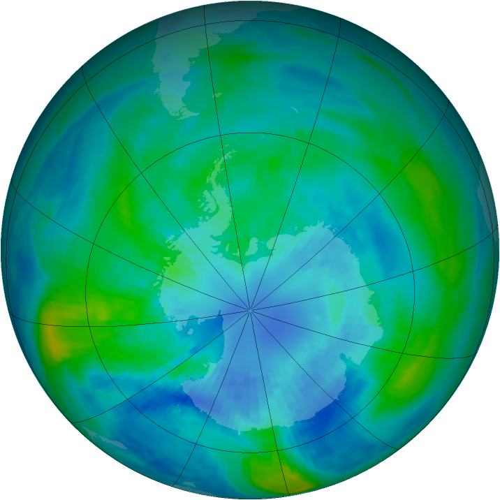 Antarctic ozone map for 03 April 1989